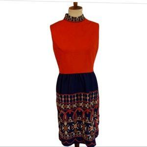 1960s Vintage Red Navy Dress. Size Medium